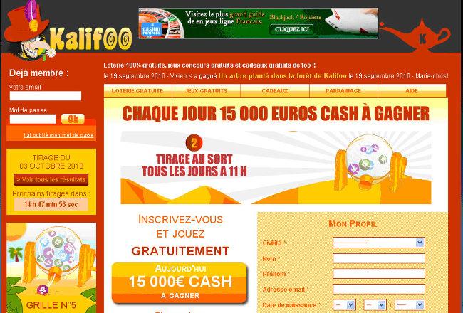Kalifoo, loterie gratuite