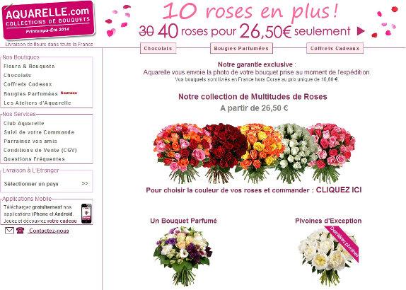 10 roses gratuites pour Noel chez Aquarelle Fleurs