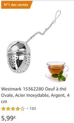 Boule à thé ou infuseur à thé zéro déchet (sans plastique)